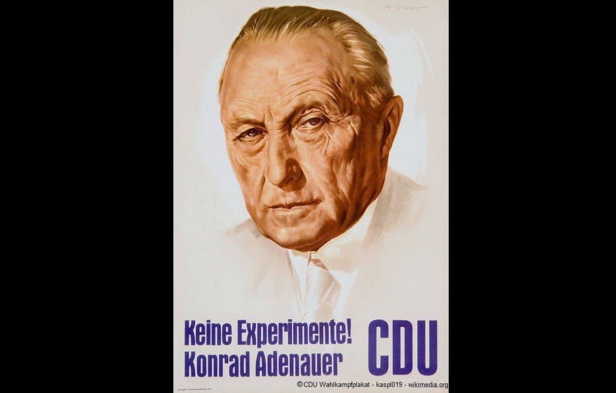 """Plakat CDU Konrad Adenauer /""""Keine Experiemente/"""" Bundestagswahl Poster Politik"""